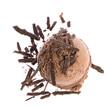 Schokoladeneiskugel von oben mit Schokostreusel