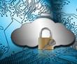 Padlock and key against grey cloud