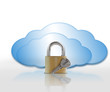 Padlock and blue clouds