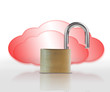 Unlocked padlock in front of red clouds