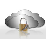 Padlock and grey clouds