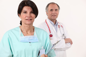 Close-up of a nurse and a surgeon