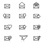 Envelope, plane, icons for e-mail