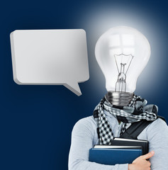 Student with a light bulb head and blank speech bubble