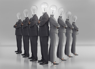 Business team with light bulb heads