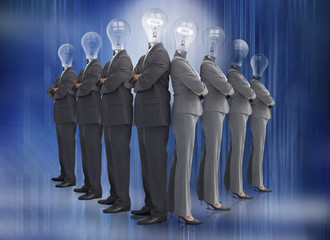 Business team with bulb heads in line
