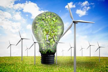 Wind turbines and bulb full of leaves