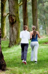 Women jogging outdoors