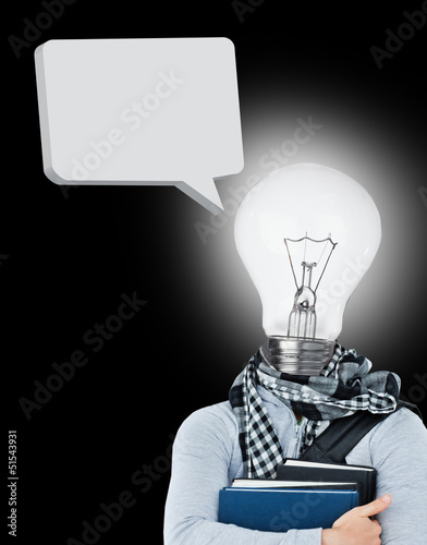 Student with a light bulb head and speech bubble
