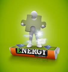 Figure holding jigsaw piece in solar field in energy battery