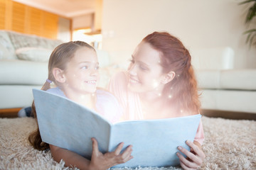 Mother and daughter reading a story together