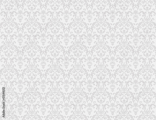 Foto op Canvas Retro white floral pattern wallpaper