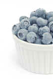 Fresh blueberries in white bowl