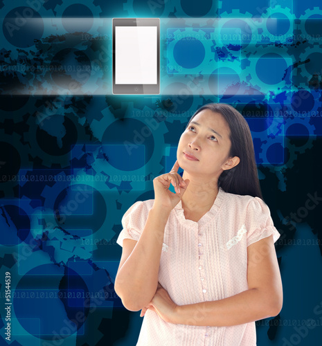 woman looking  mobile phone on world technology background