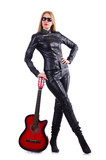 Woman guitar player in leather costume