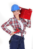 Women with toolbox on her shoulder