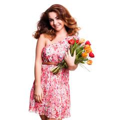 attraktive Frau mit Tulpenstrauss
