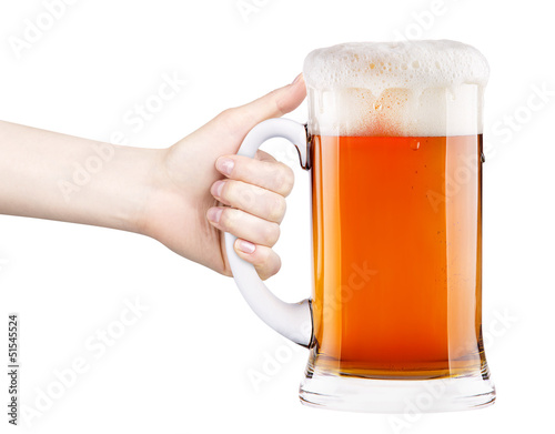 beer with woman hand making toast