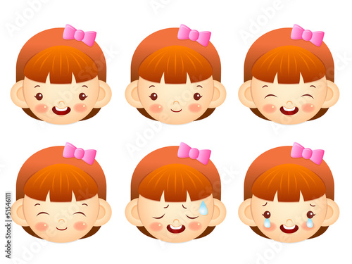 Various facial expressions of kids. Emotion Character Design Ser