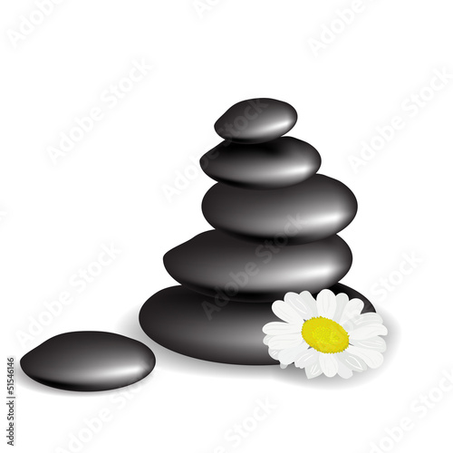 Stones with flower isolated on white