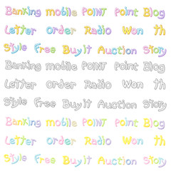 The Variety of pastel colors alphabet sets. Calligraphy art Vect