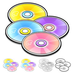 Various styles of Compact Disk Sets. Household Items Vector Icon