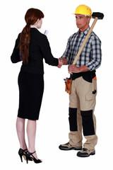 Businesswoman and craftsman