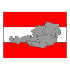 Österreich Bundesländer mit Flagge