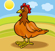 hen farm animal cartoon illustration