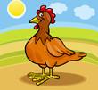hen farm animal cartoon illustration