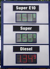 Elektronische Preisanzeige an einer Tankstelle.