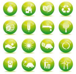 set 1 icônes écologiques sphères