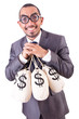 Man with sacks of money on white