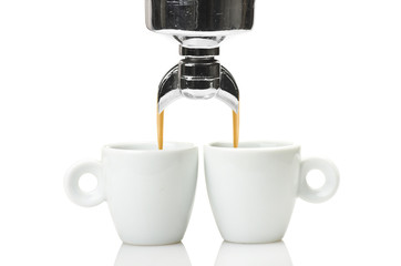 machine group head  and two cup of coffee