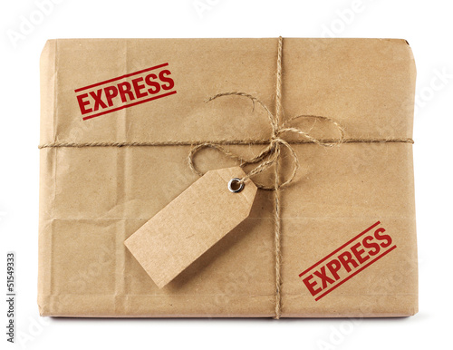 Brown mail express delivery package with tag