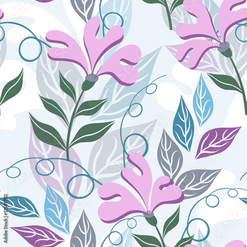 Floral seamless pattern. Violet flowers of imagination.