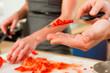 Preparing the vegetables in kitchen