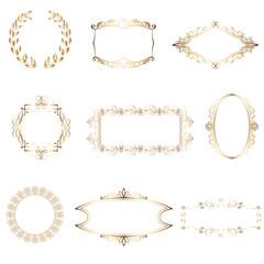 Set of vintage frames and design elemens