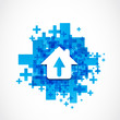 abstract house arrow icon concept