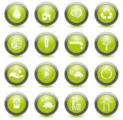 Set 1 icônes écologiques boutons ronds