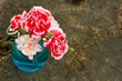 Bunch of fresh carnations on wooden  background