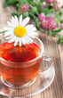 Herbal tea with chamomile and clover