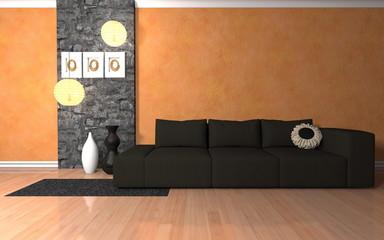 Wohndesign - Sofa schwarz neben Naturstein Mauer