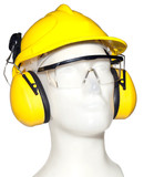 earmuff, eyewear and helmet on mannequin (with clipping paths)