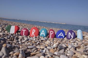 Trapani, souvenir on colourful stones over pebbles