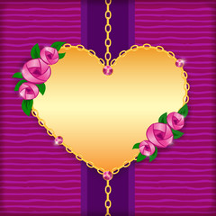 Greeting card with roses, golden heart and pink gems