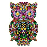 Owl Flowers Ornamental Design-Gufo di Fiori Ornamentale-Vector
