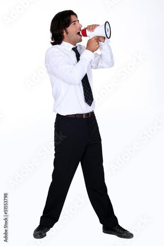 Man shouting for speaker