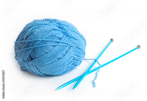 Blue Yarn and Needles