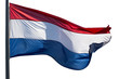 Holland flag in the wind on white background